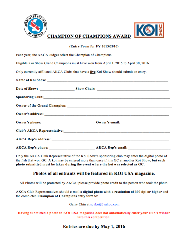 CHAMPION OF CHAMPIONS AWARD 2016