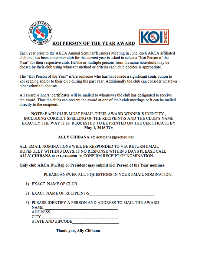 KOI PERSON OF THE YEAR AWARD 2016