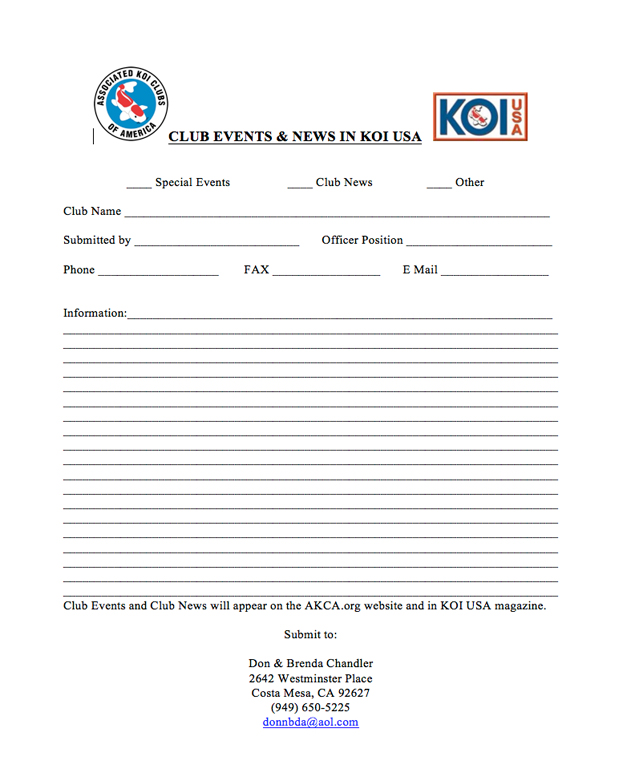 Club Events and News for KOI USA