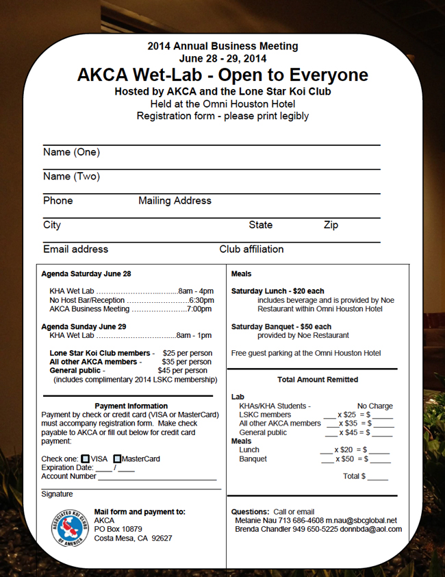2014 AKCA Business Meeting, Banquet & KHA Wet Lab - registration form