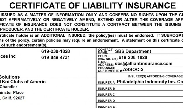 KOI CLUB LIABILITY INSURANCE